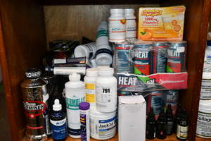 A quantity of as new health and fitness supplements to include Muscle Tech whey and isolate protein, Dorian Yates Nutrition pre workout and Nutramino BCAA drinks