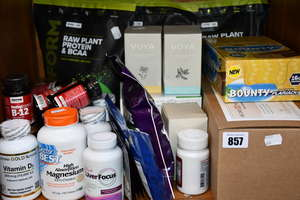 A quantity of as new health and fitness supplements to include Raw Plant protein & BCAA powder, California Gold Nutrition Vitamin D3 capsules and VOYA organic tea bags