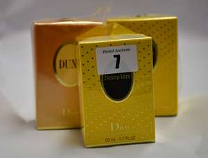 Three Dior Eau De Toilette sprays to include two Dolce Vita (100ml and 50ml) and one Dune (50ml).