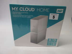 A boxed as new WD My Cloud Home 8TB Personal Cloud Storage Device (Model: WDBVXC0080HWT-EESN) (Box sealed).