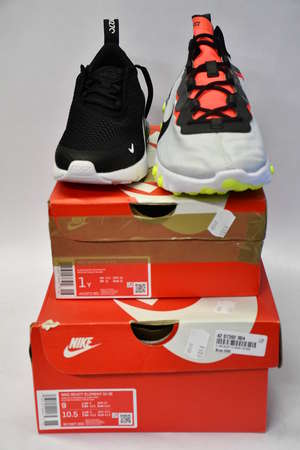 A pair of as new Nike React Element 55 SE trainers (UK 8) and a pair of children's Nike Air Max 270 (UK 13.5).