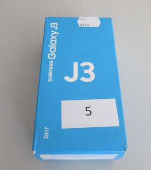 A boxed as new Samsung Galaxy J3 Android mobile phone. Metal colour. 16GB. Box opened. IMEI 351823107762908. With charger, USB cable and headphones