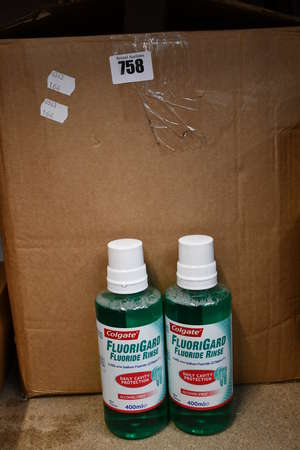 A large quantity of Colgate FluoriGard flouride rinse alcohol-free (Approximately 50 x 400ml).