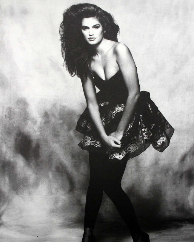 x2 photographs of Cindy Crawford, 1992, signed