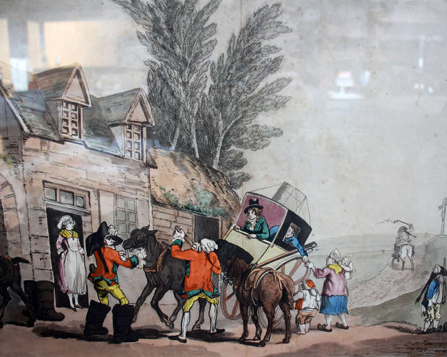 Lewis after Frederick George Byron  'Changing Horses near Clermont' Engraving with later hand-colouring  38 x 58cm Together with three further prints by the same hand