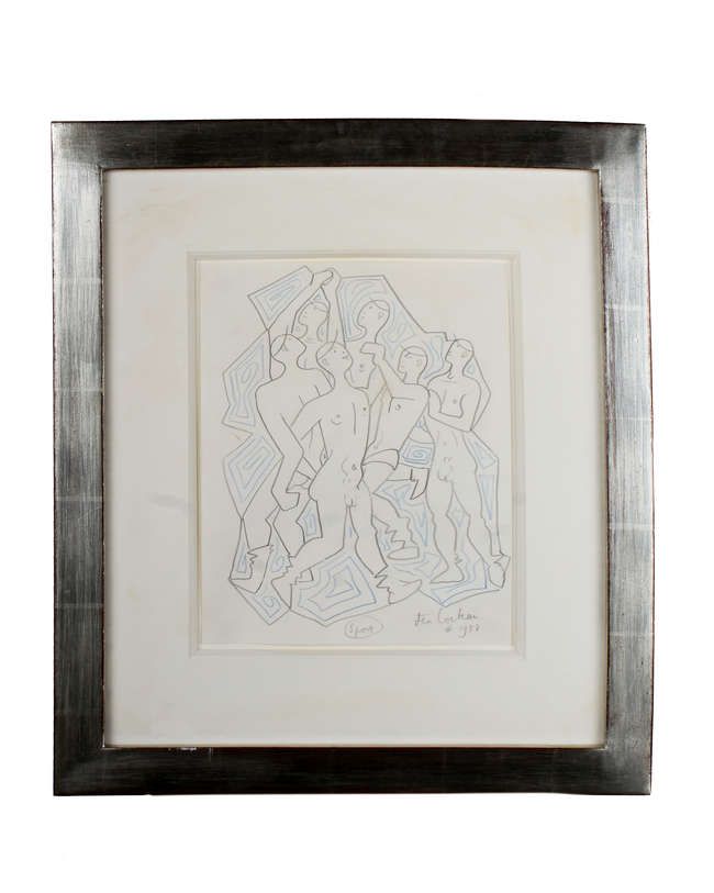 Jean Cocteau Untitled Pencil and chalk drawing Signed and dated '1957' With provenance from Madame Annie  Guedras 21cm x 26cm   Framed - 41cm x 47cm *This lot may be subject to artist resale rights*