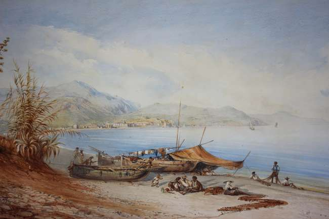 E. Crather (19th century British School) Fishermen on the Shore Watercolour Signed and dated 1851 lower left  41 x 91cm