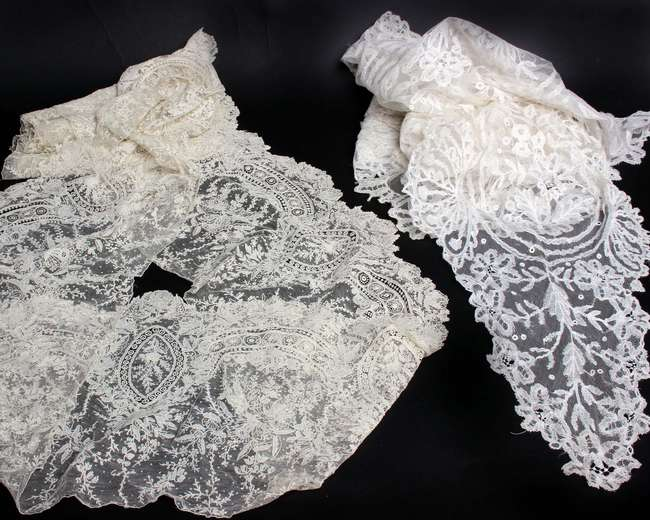 A 19th Century Brussels appliqué lace shawl and a length of Brussels needlepoint lace