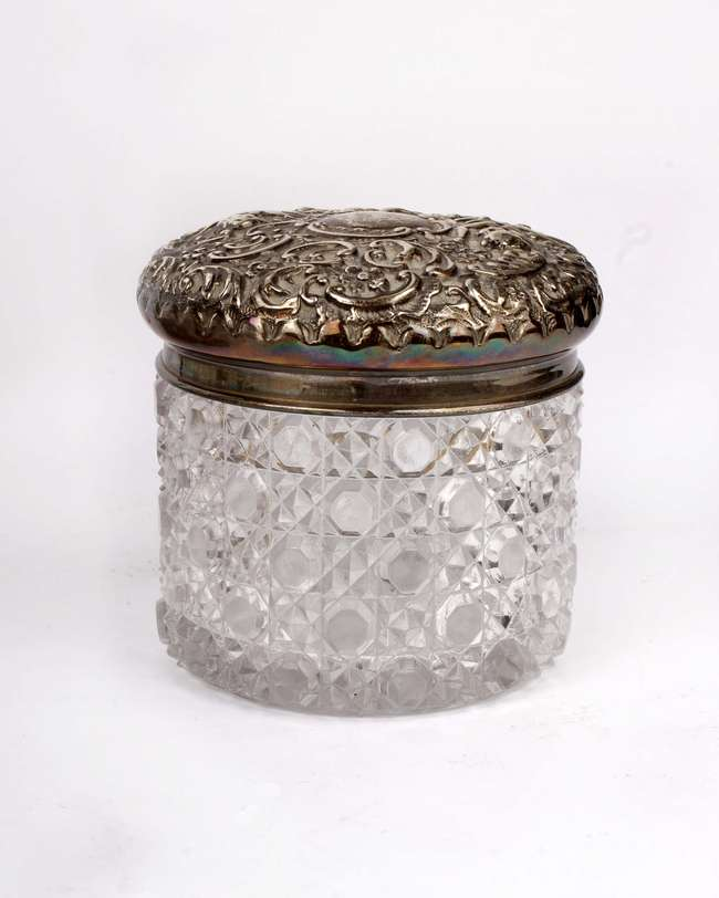 silver topped glass ware