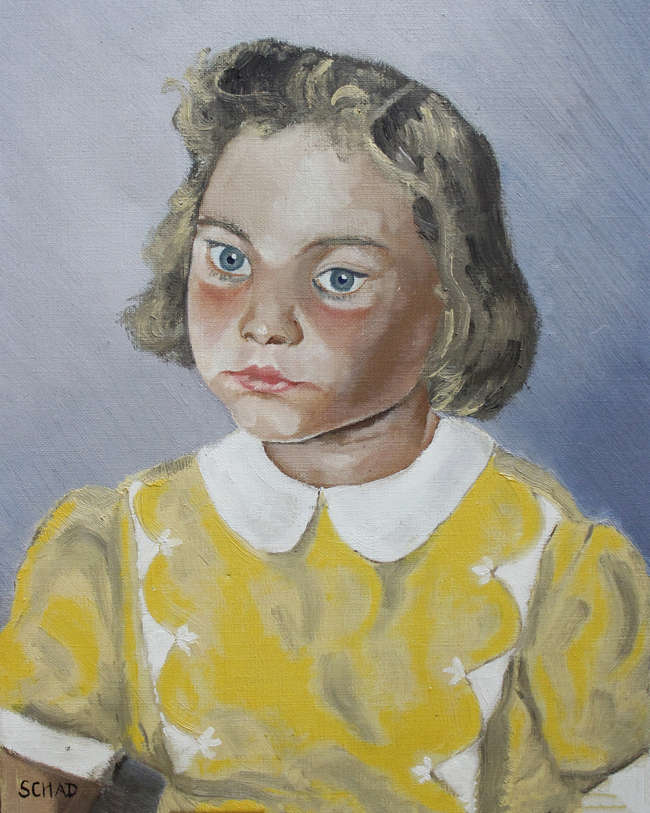 Milton Avery drawing, Schad (c20th) Portrait of Girl in Yellow o/c signed and two others (4)