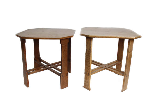 Two hexagonal Arts & Crafts tables