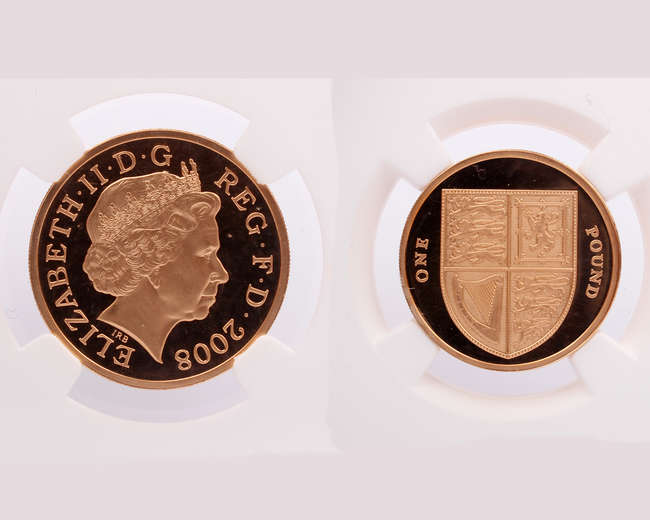 A Gold Piedfort 2008 Elizabeth II One pound coin.   Royal Coat of Arms NGC encapsulated PF70 Ultra Cameo Coin.