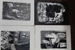 A collection of assorted drawings and woodblocks