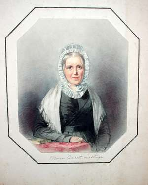 I Crespin Aunt Maria Bassett (relative of Thomas Surge Moore and G.E. Moore) Watercolour Signed and dated 1832 lower right 16.5 x 13cm  Together with a further work of Maria Bassett and one depicting Lydia Sturge (nee. Moxham)
