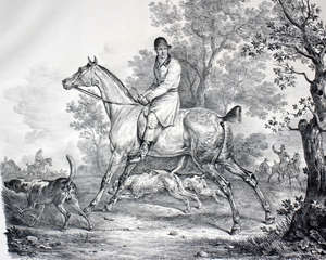 Delpech after Carle Venets Hunting Lithograph c. 1860 40 x 49cm  Together with two etchings by W. Monk
