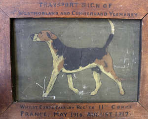 A First World War framed tin sign. 'Westmorland and Cumberland Yeomanry. France May 1916-August 1917
