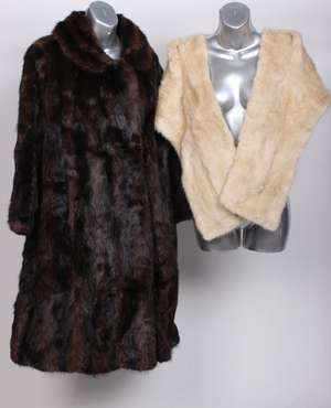 A 1950s musquash coat and a 1950s pale fur evening stole