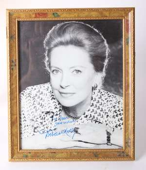 Deborah Kerr black and white photograph, signed in blue ink