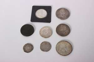 A small collection of coins to include A King Charles I Shilling