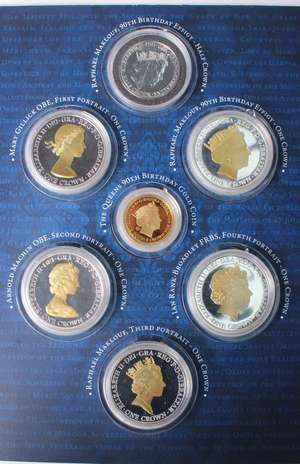 Gibraltar Queen Elizabeth II 90th Birthday 2016 a 7-coin set comprising Double Crown 2016 9 carat Gold Proof accented in white and rose gold