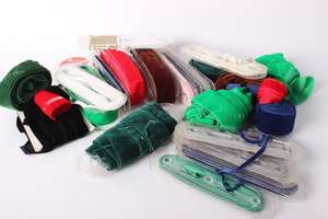 A collection of velvet ribbons in a variety of widths and colours