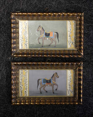 A pair of Indian miniature paintings in the Mughal style, horses (2)