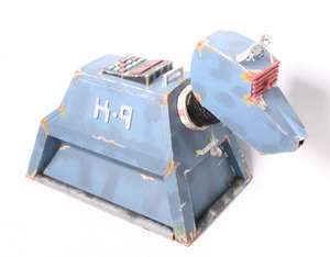 A Doctor Who K-9 Robot Dog painted foam board model. SFX prop for episode for Doctor Who episode 'School re-union'.