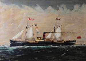 I Hudson (19th century) Steam sailing ship Lumley Oil on canvas Signed and dated lower right   48 x 68cm
