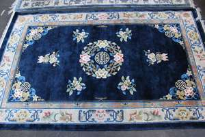 A Chinese blue ground rug