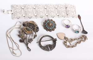 A collection of silver and white metal  jewellery