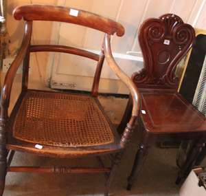 A Victorian mahogany hall chair, caned 19th Century armchair, further 19th Century mahogany dining chair, two further chairs