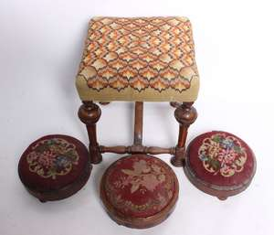Three Victorian needlework circular footstools and a William and Mary style walnut stool with needlework seat
