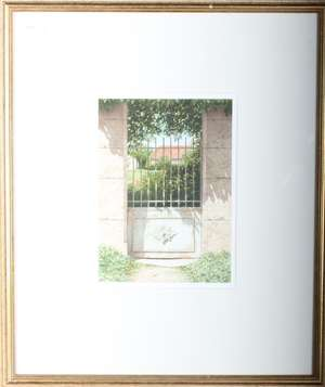 Nigel Ashcroft 'Blue Gate' watercolour and 'Fence I' (2)