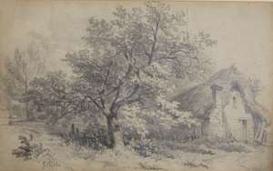 G. Childs, Cottage by the Tree pencil drawing