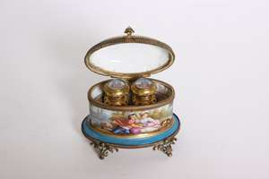 Transfer print Ormulu oval casket ink well sevres style