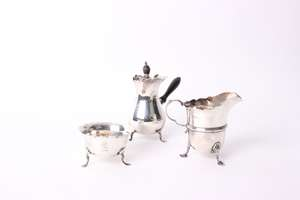 A silver chocolate pot by Mappin & Webb
