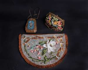 A 19th Century beadwork tea cosy; a 19th Century brown leather drawstring pouch purse decorated with small panels of beadwork to the front and back and an early 20th Century French petit point bag with a metal clasp and chain marked metal core E.F