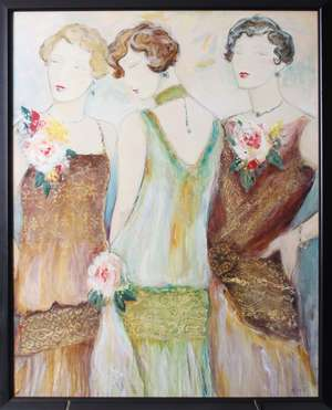 A late 20th Century half tone lithograph print of 1920s women within a modern frame. 87 x 66 cm and an early 20th Century millinery poster (2)