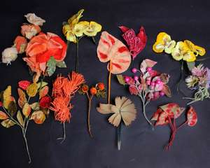 A quantity of early 20th Century silk and velvet millinery flowers and berries