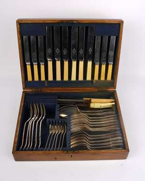 A boxed canteen of  plated cutlery.
