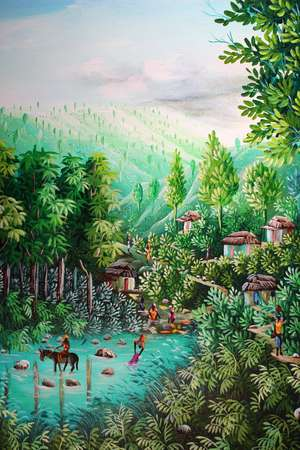 Pierre Vilme  Haitian Jungle Scene  Oil on canvas  Signed lower right 39.5 x 29.5cm  Together with another by the same hand (2)