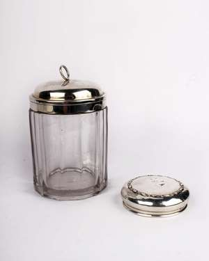Silver topped tabacco jar