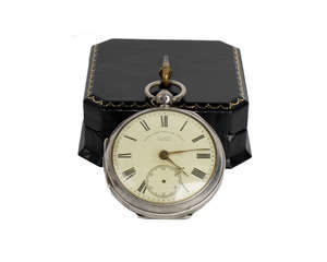 A silver pocket watch