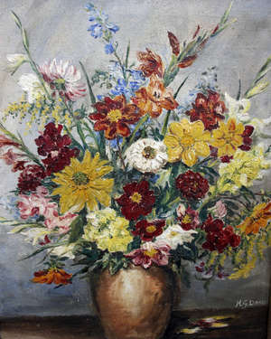 H.G. Davis Still Life with Flowers  Oil on canvas Signed lower right 46 x 36cm   Together with another:  Gwen Wicker (English School) 'Climbers' Oil on board Signed lower right  44.5 x 34cm