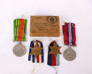 Four World War II medals.