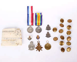 Four first World War Medals awarded to Lt Westmacott together with military buttons and other items.