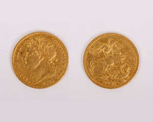 SCARCE GOLD Sovereign George IV Sovereign Laur Head St George Spink 3800 KM 682. VF +