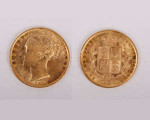 RARE GOLD SOVEREIGN SYDNEY Victoria 1877S Sydney Spink 3855  7.99 g. uncirculated