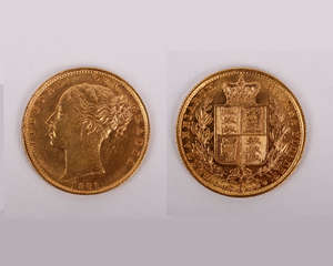 GOLD Sovereign 1881S Shield Reverse, Marsh 77, S.3855B, EF the obverse with some contact marks